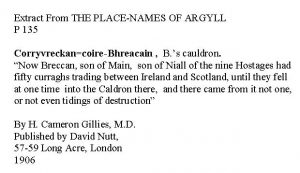 Corryvreckan - extract from Place Names of Argyll