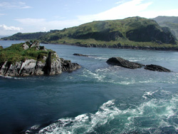 Corryvreckan Whirlpool Pictures - View South Overlooking Eilean a Bhealaich at the Mouth of the Gray Dog